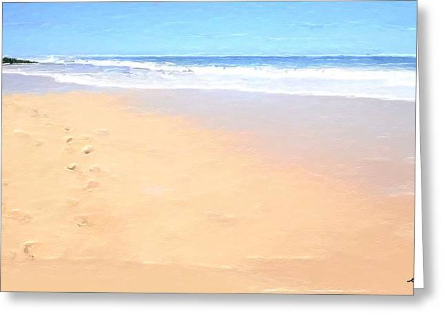 Beach Print Greeting Cards - Foot Prints on the Beach Greeting Card by Anthony Fishburne