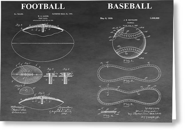 Gym Mixed Media Greeting Cards - Football And Baseball Patent Greeting Card by Dan Sproul