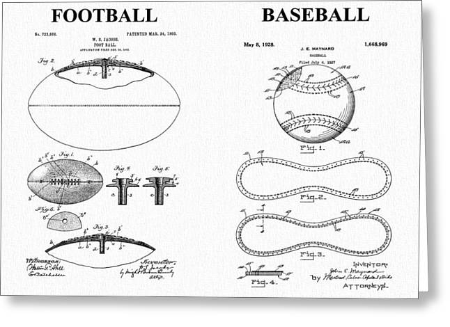 Player Drawings Greeting Cards - Football Baseball Patent Greeting Card by Dan Sproul