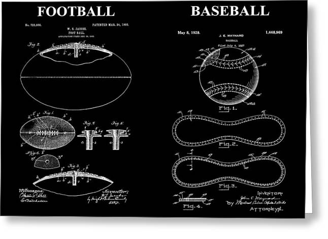 Player Drawings Greeting Cards - Football Baseball Patent Drawing Greeting Card by Dan Sproul