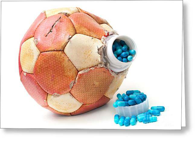 Doping Greeting Cards - Football doping Greeting Card by Sinisa Botas