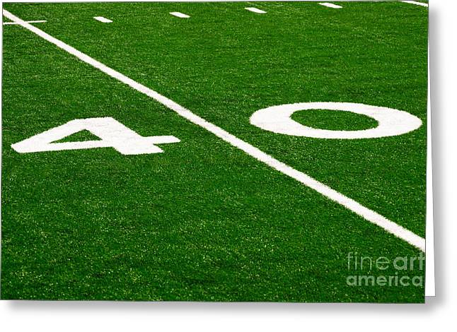 Forty Greeting Cards - Football Field 40 Yard Line Picture Greeting Card by Paul Velgos