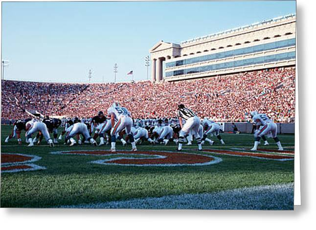 National Football League Greeting Cards - Football Game, Soldier Field, Chicago Greeting Card by Panoramic Images
