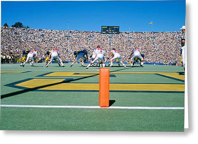 Referee Greeting Cards - Football Game, University Of Michigan Greeting Card by Panoramic Images
