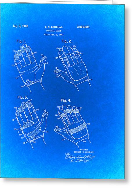 Sports Glove Drawings Greeting Cards - Football Glove Patent 1963 Greeting Card by Mountain Dreams