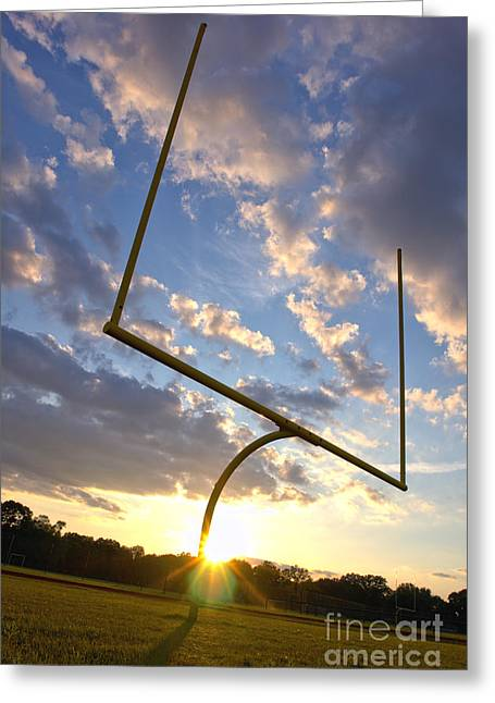 Goalpost Greeting Cards - Football Goal at Sunset Greeting Card by Olivier Le Queinec