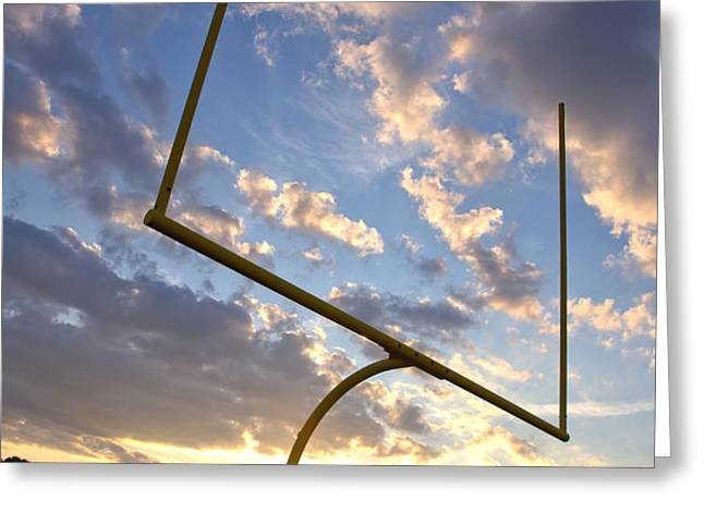 Football Goal at Sunset Greeting Card by Olivier Le Queinec