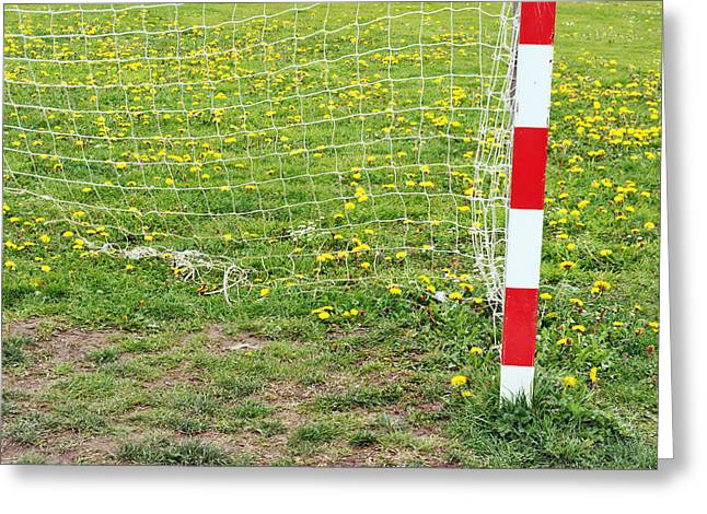Netting Greeting Cards - Football Goal Post And Net In Spring Greeting Card by Mikel Martinez de Osaba