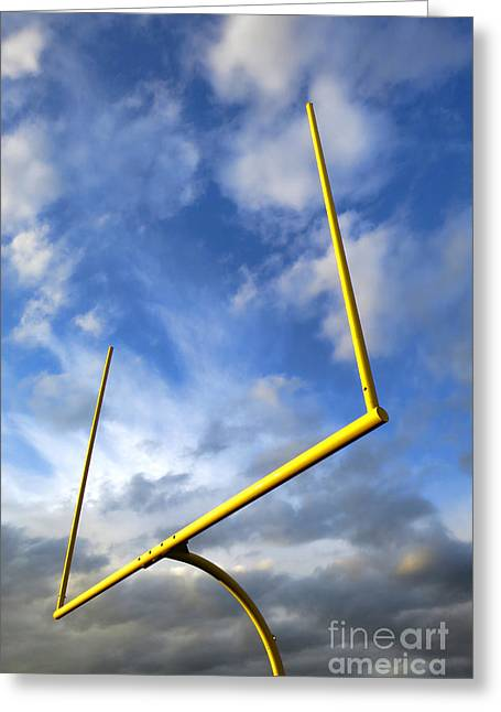 Goalpost Greeting Cards - Football Goal Posts Greeting Card by Olivier Le Queinec