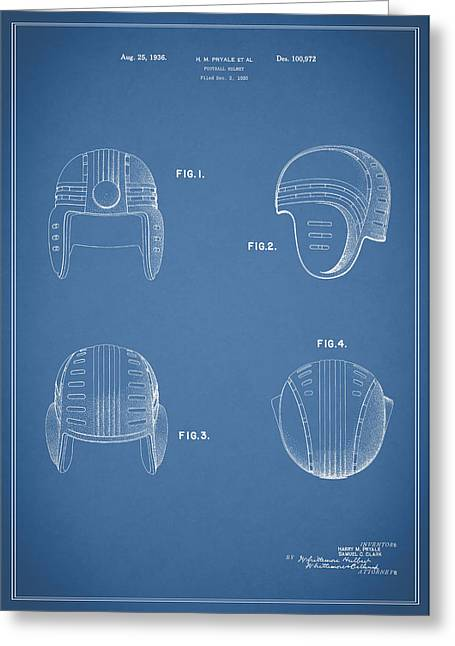 49ers Greeting Cards - Football Helmet 1935 - Blue Greeting Card by Mark Rogan