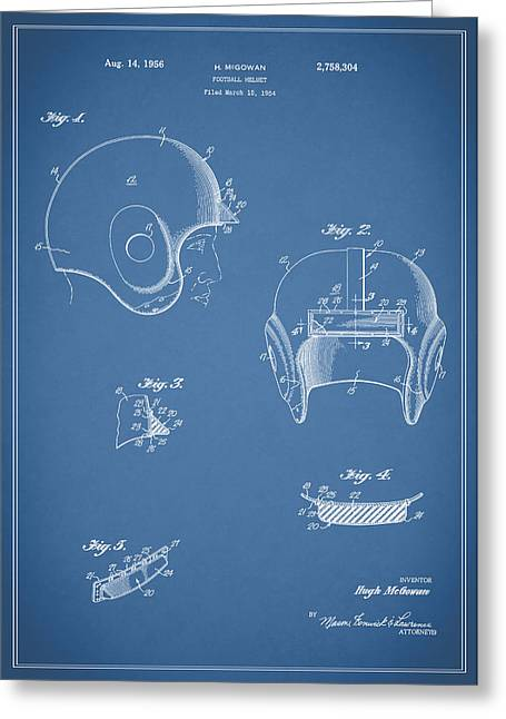 49ers Greeting Cards - Football Helmet 1954 - Blue Greeting Card by Mark Rogan