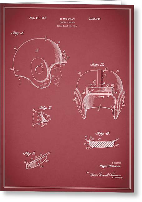 Football Helmets Greeting Cards - Football Helmet 1954 - Red Greeting Card by Mark Rogan