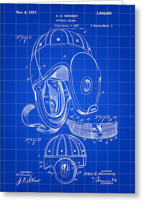 Pro Football Digital Greeting Cards - Football Helmet Patent 1927 - Blue Greeting Card by Stephen Younts