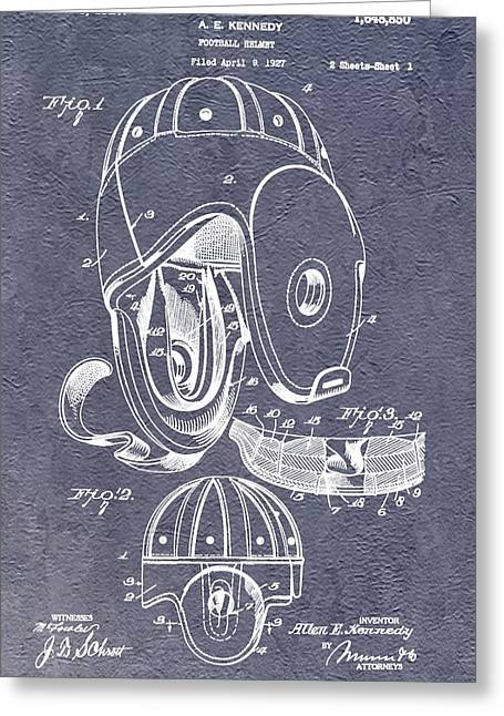 Fame Mixed Media Greeting Cards - Football Helmet Patent Greeting Card by Dan Sproul