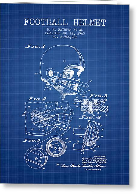 Football Helmets Greeting Cards - Football Helmet Patent from 1960 - Blueprint Greeting Card by Aged Pixel