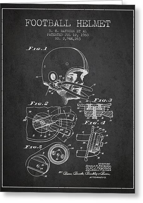 Football Helmets Greeting Cards - Football Helmet Patent from 1960 - Charcoal Greeting Card by Aged Pixel