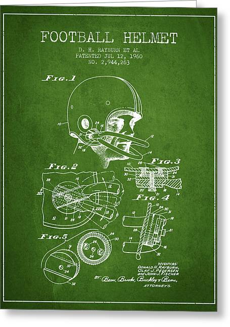 Football Helmets Greeting Cards - Football Helmet Patent from 1960 - Green Greeting Card by Aged Pixel