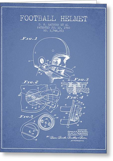 Football Helmets Greeting Cards - Football Helmet Patent from 1960 - Light Blue Greeting Card by Aged Pixel