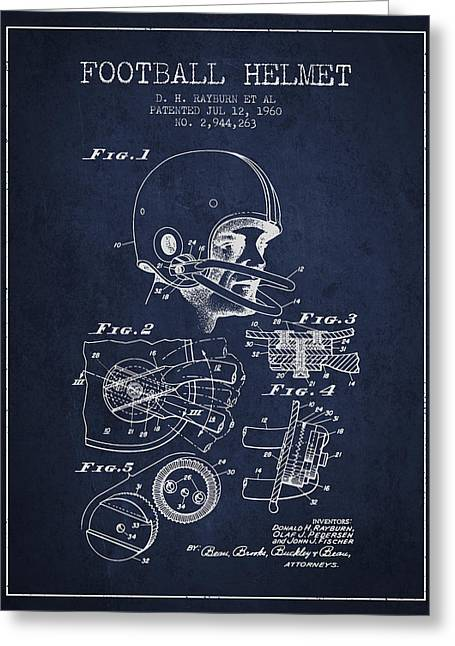 Football Helmets Greeting Cards - Football Helmet Patent from 1960 - Navy Blue Greeting Card by Aged Pixel