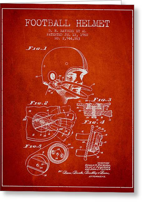 Football Helmets Greeting Cards - Football Helmet Patent from 1960 - Red Greeting Card by Aged Pixel