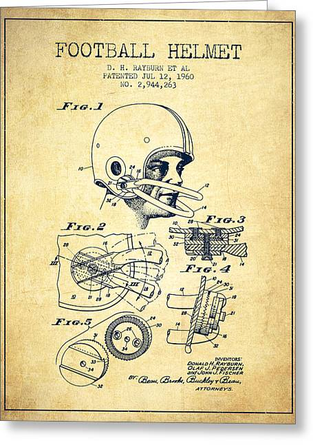 Football Helmets Greeting Cards - Football Helmet Patent from 1960 - Vintage Greeting Card by Aged Pixel