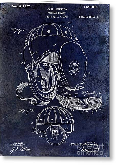 Fantasy Football Greeting Cards - Football Helmet Patent Greeting Card by Jon Neidert