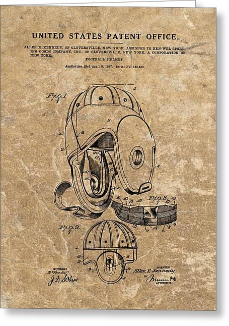 Fame Mixed Media Greeting Cards - Football Helmet Patent Vintage Greeting Card by Dan Sproul