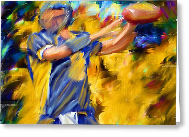 Ball Games Greeting Cards - Football I Greeting Card by Lourry Legarde