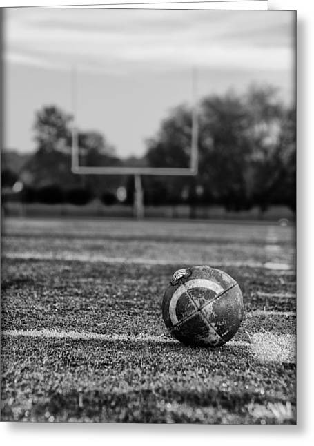 Goalpost Greeting Cards - Football in Black and White Greeting Card by Bill Cannon