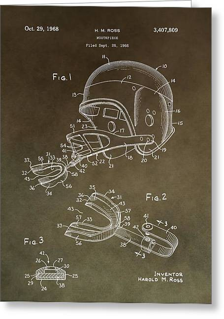 National Football League Greeting Cards - Football Mouthguard Patent Greeting Card by Dan Sproul