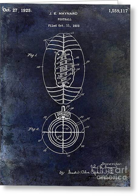 Fantasy Football Greeting Cards - 1925 Football Patent Drawing Blue Greeting Card by Jon Neidert