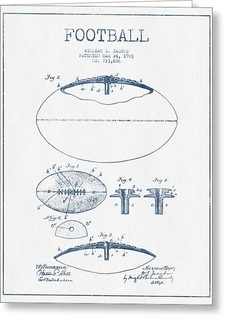 Football Patent Drawing From 1903 - Blue Ink Greeting Card by Aged Pixel