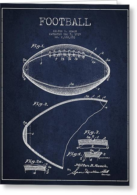 Technical Greeting Cards - Football Patent Drawing from 1939 Greeting Card by Aged Pixel