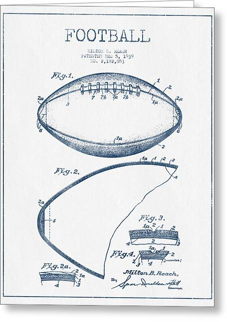 Football Patent Drawing From 1939 - Blue Ink Greeting Card by Aged Pixel
