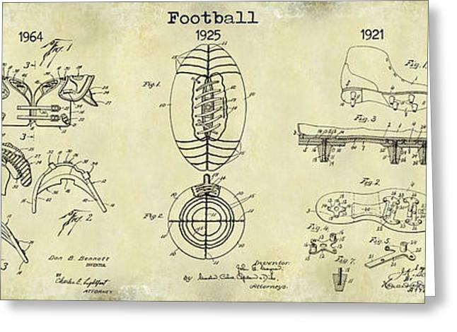 Broncos Greeting Cards - Football Patent History Drawing Greeting Card by Jon Neidert