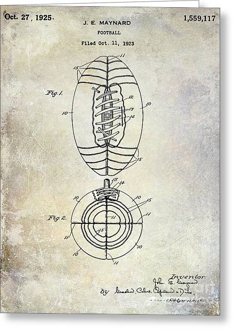 Fantasy Football Greeting Cards - 1925 Football Patent Drawing Greeting Card by Jon Neidert