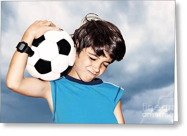 Preteen Greeting Cards - Football player celebrating victory Greeting Card by Anna Omelchenko
