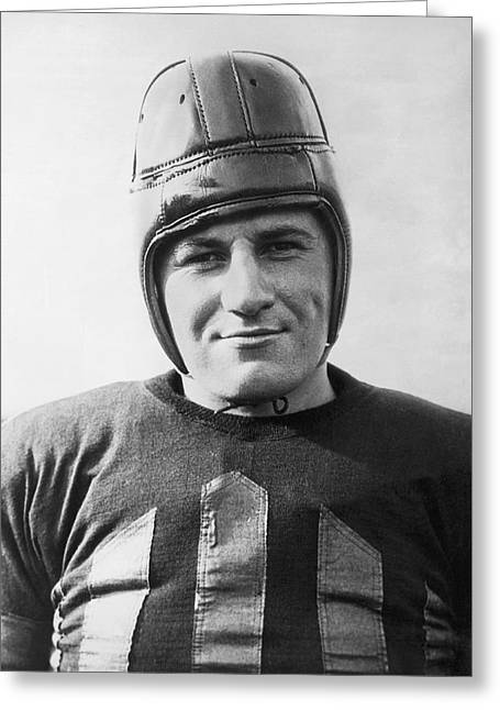 Football Player Portrait Greeting Card by Underwood Archives