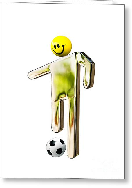 Stainless Steel Greeting Cards - Football player Greeting Card by Sinisa Botas