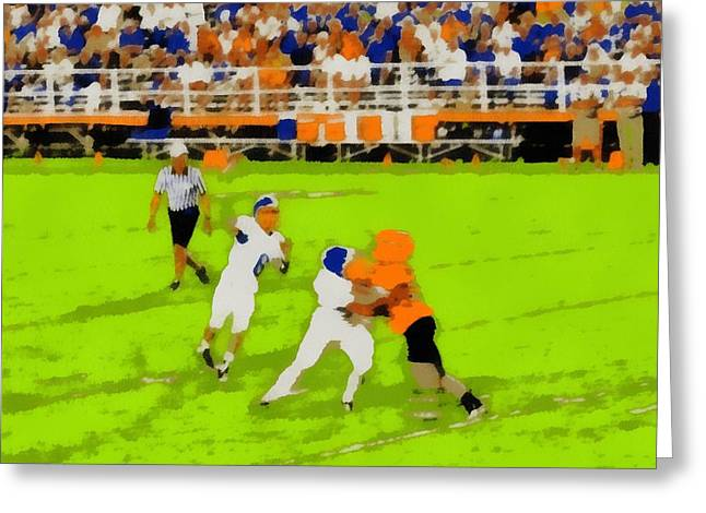 Win Paintings Greeting Cards - Football Pop Art Greeting Card by Dan Sproul