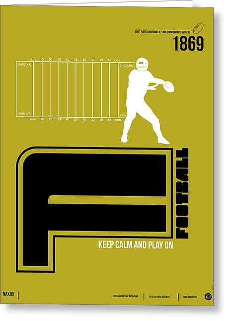 Humor Greeting Cards - Football Poster Greeting Card by Naxart Studio