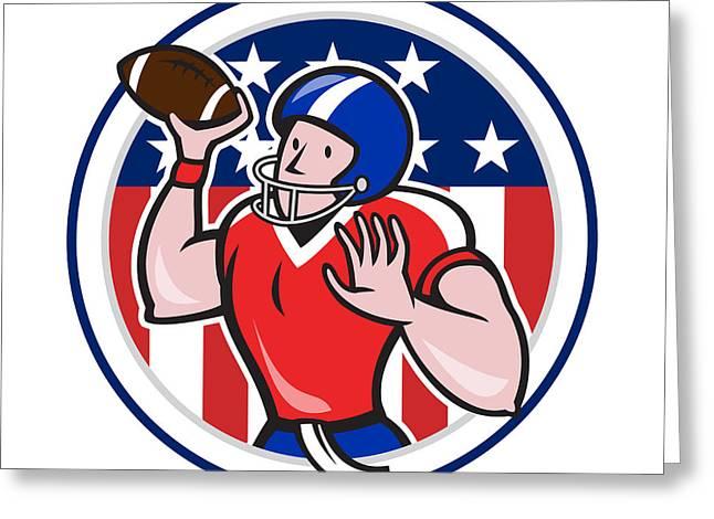 Throwing Digital Greeting Cards - Football Quarterback Throwing Circle Cartoon Greeting Card by Aloysius Patrimonio