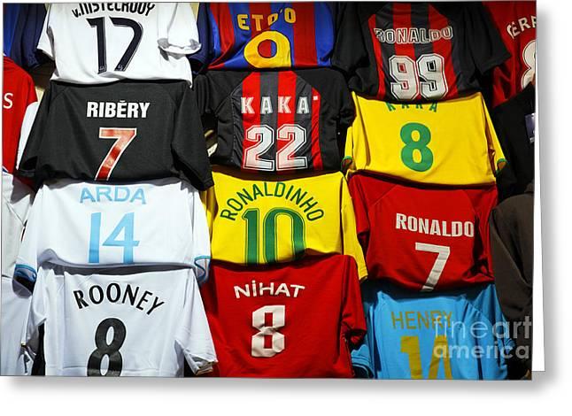 Footballs Closeup Greeting Cards - Football shirts inside the Grand Bazaar in Istanbul Turkey Greeting Card by Robert Preston