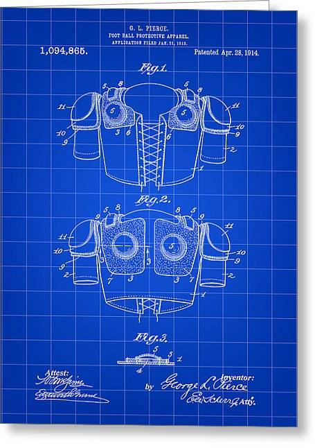 Pro Football Digital Greeting Cards - Football Shoulder Pads Patent 1913 - Blue Greeting Card by Stephen Younts