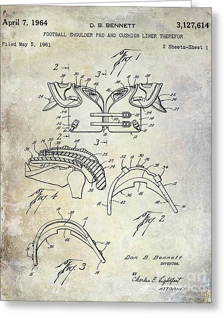 Broncos Greeting Cards - Football Shoulder Pads Patent Greeting Card by Jon Neidert