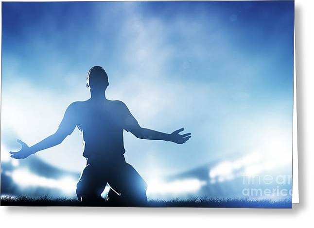 Euphoria Greeting Cards - Football soccer match Greeting Card by Michal Bednarek