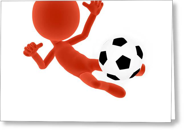Volley Greeting Cards - Football soccer shooting jumping pose Greeting Card by Michal Bednarek