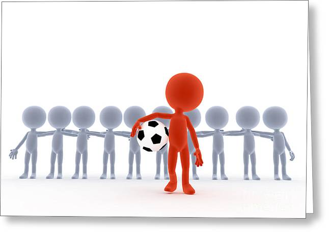 Problems Digital Greeting Cards - Football soccer team leader with ball Greeting Card by Michal Bednarek