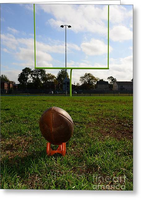 Goalpost Greeting Cards - Football - The Kickoff Greeting Card by Paul Ward