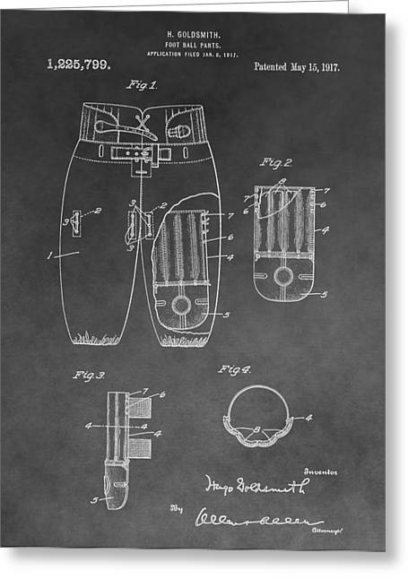Coach Drawings Greeting Cards - Football Trousers Patent Greeting Card by Dan Sproul